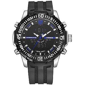 Relógio Masculino Weide AnaDigi WH-6105 - Preto, Prata e Azul