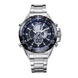 Relógio Masculino Weide AnaDigi WH-1103 - Prata e Preto
