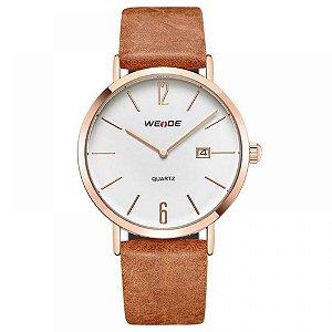 Relógio Masculino Weide Analógico WD007 - Marrom, Cobre e Branco