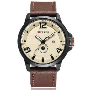 Relógio Masculino Curren Analógico 8253 - Marrom, Preto e Bege