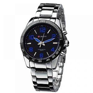Relógio Masculino Curren Analógico 8107 - Prata e Azul
