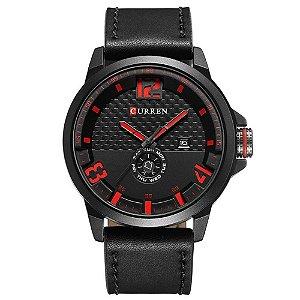 Relógio Masculino Curren Analógico 8253 - Preto e Vermelho