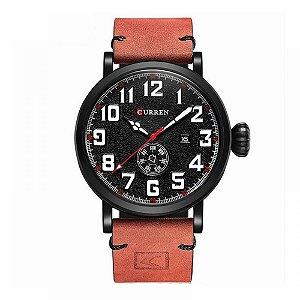 Relógio Masculino Curren Analógico 8283 - Vermelho e Preto