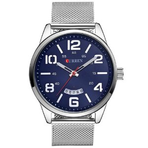 Relógio Masculino Curren Analógico 8236 - Prata e Azul