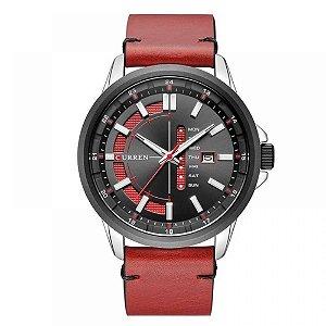 Relógio Masculino Curren Analógico 8307 - Vermelho, Prata e Preto