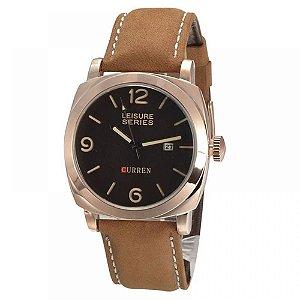 Relógio Masculino Curren Analógico 8158 - Marrom e Bronze
