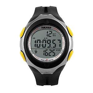 Relógio Pedômetro Unissex Skmei Digital 1107 - Preto e Amarelo
