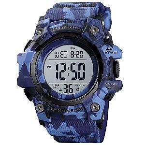 Relógio Infantil Menino Skmei Digital 1552 - Azul Camuflado