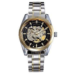Relógio Automático Masculino Ouyawei Analógico - Prata e Dourado