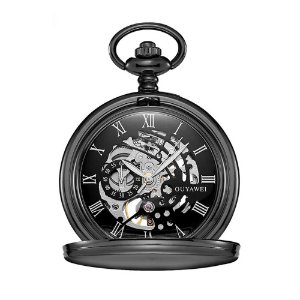 Relógio de Bolso Automático Unissex Ouyawei Analógico - Preto