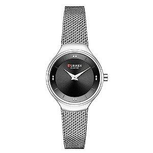 Relógio Feminino Curren Analógico C9028L - Prata e Preto