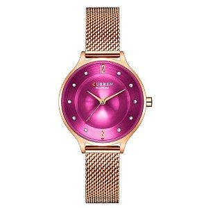 Relógio Feminino Curren Analógico C9036L - Rose e Roxo