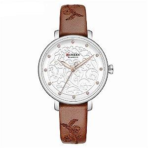 Relógio Feminino Curren Analógico C9046L - Prata e Marrom