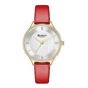Relógio Feminino Curren Analógico C9041L - Dourado e Vermelho