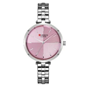 Relógio Feminino Curren Analógico C9043L - Prata e Rosa
