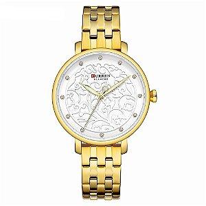 Relógio Feminino Curren Analógico C9046L - Dourado