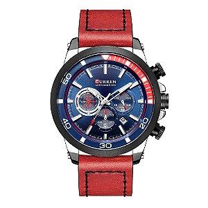 Relógio Masculino Curren Analógico 8310 - Prata e Vermelho