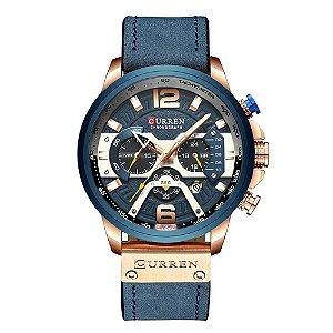 Relógio Masculino Curren Analógico 8329 - Azul e Rose