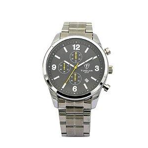 Relógio Masculino Tuguir Analógico 5029 Prata e Preto