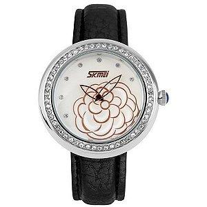 Relógio Feminino Skmei Analógico 9087 Preto e Prata