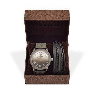 Kit Relógio Masculino Tuguir Analógico 5001 e Pulseira de Couro