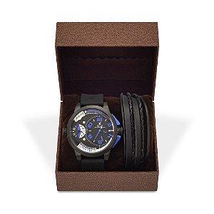 Kit Relógio Masculino Weide Analógico UV-1501 e Pulseira de Couro