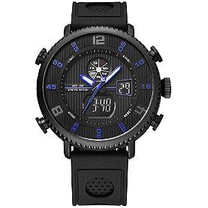 Relógio Masculino Weide AnaDigi WH-6106 - Preto e Azul