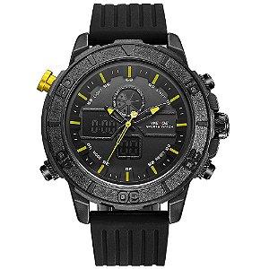 Relógio Masculino Weide AnaDigi WH-6108 - Preto e Amarelo