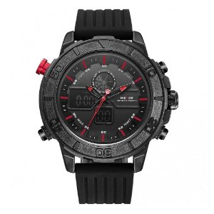 Relógio Masculino Weide AnaDigi WH-6108 - Preto e Vermelho