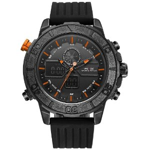 Relógio Masculino Weide AnaDigi WH-6108 - Preto e Laranja