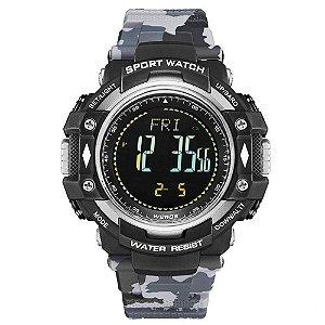 Relógio Pedômetro Masculino Weide Digital WA-9J001 - Cinza Camuflado