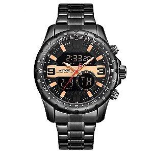 Relógio Masculino Weide AnaDigi WH8502 - Preto e Dourado