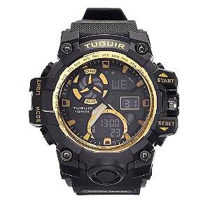 Relógio Masculino Tuguir 10ATM AnaDigi TG108 - Preto e Dourado