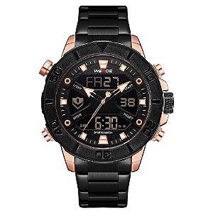 Relógio Masculino Weide AnaDigi WH8503 - Preto e Rosé