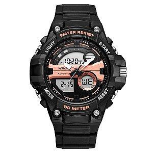 Relógio Masculino Weide AnaDigi WA3J8010 - Preto e Rosé