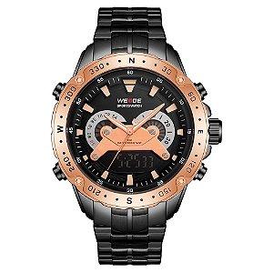 Relógio Masculino Weide AnaDigi WH8501 - Preto e Rosé