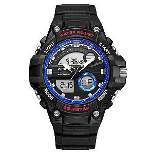 Relógio Masculino Weide AnaDigi WA3J8010 - Preto e Azul