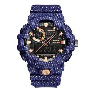 Relógio Masculino Weide AnaDigi WA3J8007 - Azul e Rosé