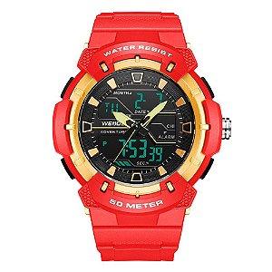 Relógio Masculino Weide AnaDigi Wa3J8008 - Vermelho e Dourado