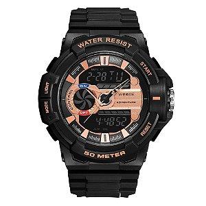 Relógio Masculino Weide AnaDigi WA3J8009 - Preto e Rosé