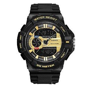 Relógio Masculino Weide AnaDigi WA3J8009 - Preto e Dourado