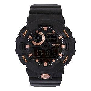 Relógio Masculino Tuguir Digital TG127 - Preto e Rosê