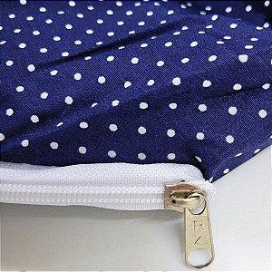 Capa para Colchão 190 x 90 x 30 cm Solteiro Com Zíper Bolinhas Azul e Branco Bellestar