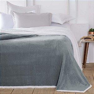 Cobertor 1,80 x 2,20 m Casal Denver Sherpa Cinza Corttex