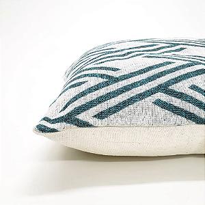 Capa para Almofada 43 x 43 cm Geométrico Verde Jacquard Tecidos