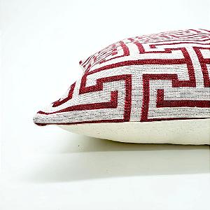 Capa para Almofada 43 x 43 cm Geométrico Vermelho Jacquard Tecidos