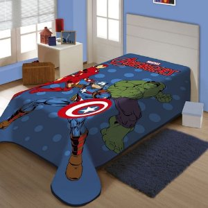 Cobertor Juvenil Solteiro Raschel Plus Marvel Em Ação Jolitex
