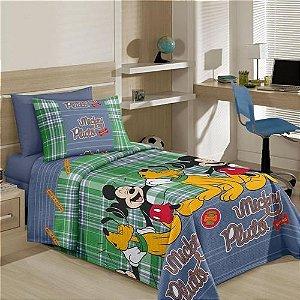 Colcha Piquet Solteiro Mickey Mouse Verde Santista