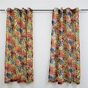 Cortina Com ilhós 2,00 x 1,80 m Floral Voil DES.001 Bellestar