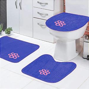Jogo de Banheiro 3 peças Azul Tapetes Galdino
